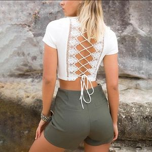 Tops - NEW White short sleeve crop top- lace up back